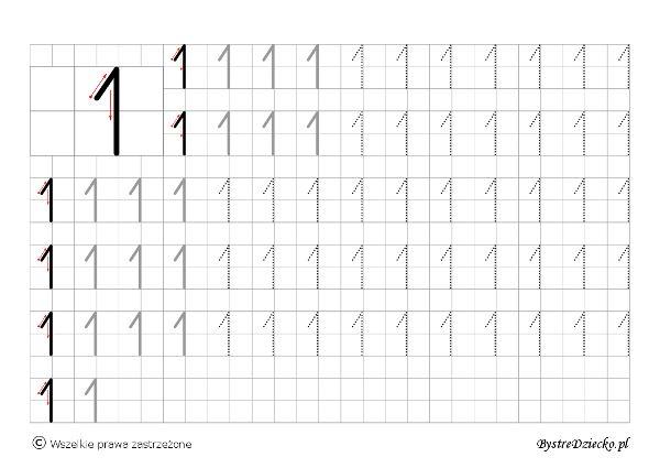 Cyferki dla dzieci - szablon do nauki pisania 1 - matematyka