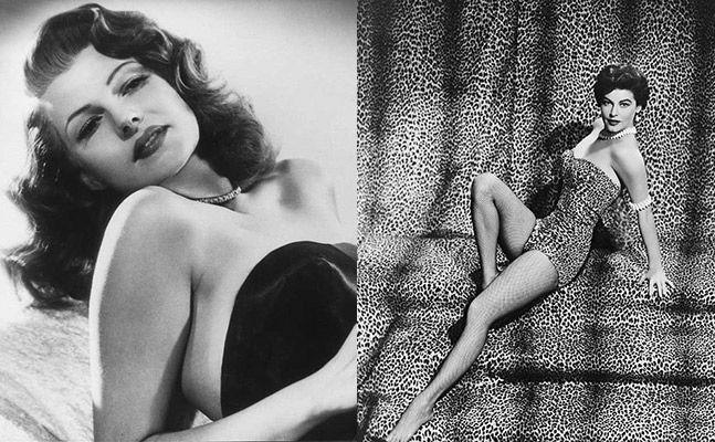 """Segunda Guerra Mundial.  Mujer más provocativa y sensual. Cabellos ondulados, cinturas estrechas, caderas e imponente busto. A finales empiezan las Pin Ups. GRAN ICONO  Rita Hayworth """" diosa del amor"""", película Gilda. Ava Gadner. Se inicia el MOMENTO DORADO  de HOLLYWOOD y sus DIVAS."""