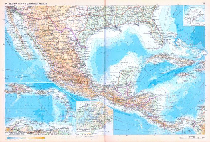 Мексика, Вест-Индия: физическая карта (Атлас офицера, 1984).