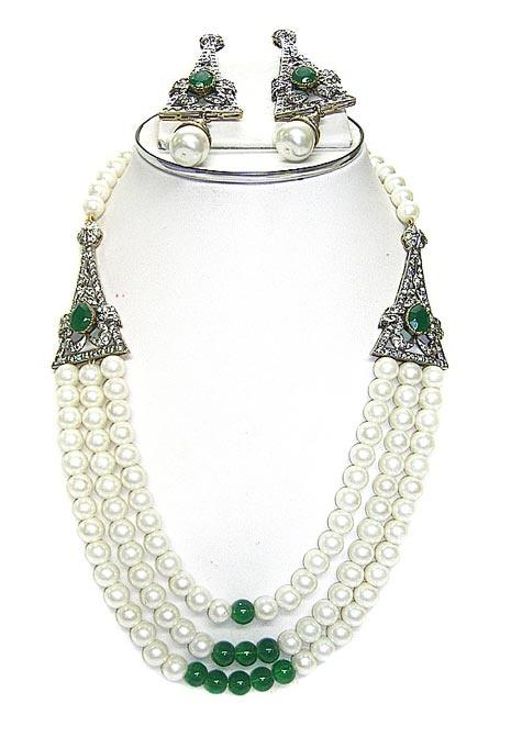 Green / Off White Stone Studded Necklace Set    Itemcode: JJR3162    Price: US$ 71.52    Click here to shop: http://www.utsavfashion.com/store/item.aspx?icode=jjr3162