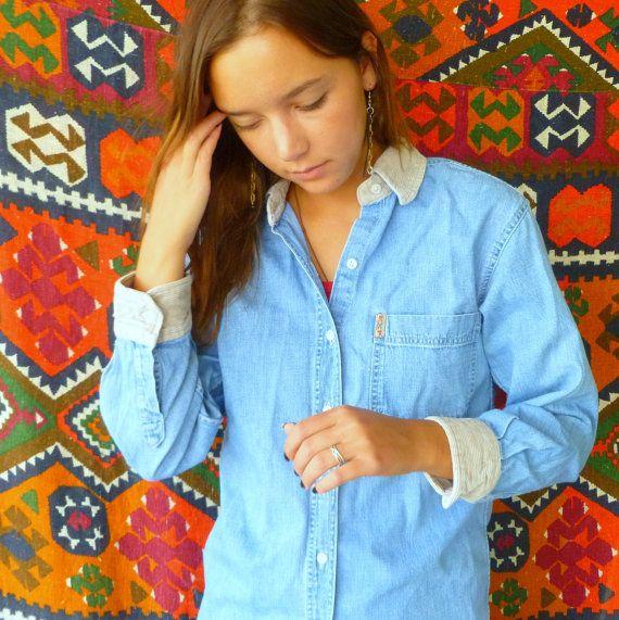 Vintage Corduroy Collared/Cuffed denim shirt