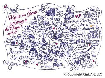 Custom Annapolis MD Map | Cink Art | Wedding, Map, Wedding Invitations