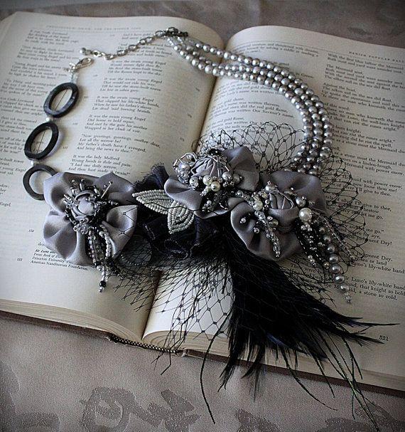 ARIANA silber schwarz Erklärung Halskette von carlafoxdesign