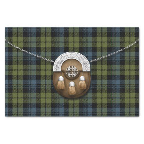 Clan Campbell Tartan And Sporran Tissue Paper