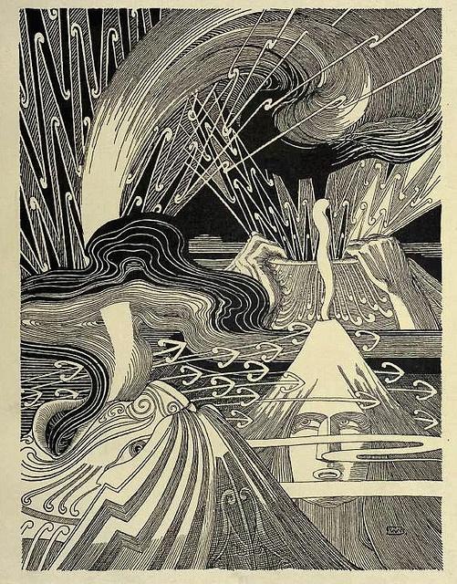 great graphic book illustration of volcanoes Te Tohunga – Wilhelm Dittmer 1907