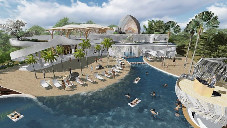 Luxury Ocean Club with flowing transitions from sand to water. Elegant and curvy shapes processed in this project.