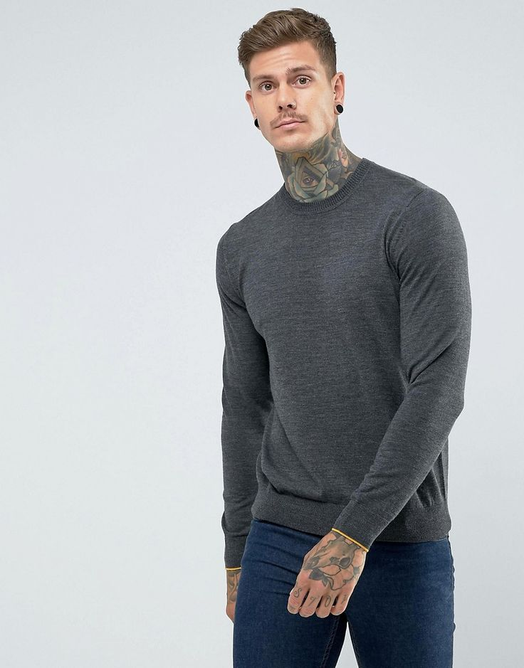 Get this Ps By Paul Smith's knit pullover now! Click for more details. Worldwide shipping. PS by Paul Smith Merino Crew Neck Jumper in Charcoal - Grey: Jumper by PS By Paul Smith, Soft-touch knit, Crew neck, Ribbed trims, Regular fit - true to size, Machine wash, 100% Merino Wool, Our model wears a size Medium and is 191cm/6'3 tall. Designed in the UK, PS by Paul Smith bears all the hallmarks of Sir Paul Smith�s individual and quintessentially British style. Signature prints are spread…