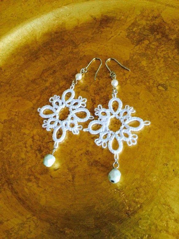 Beautiful white tatted earrings
