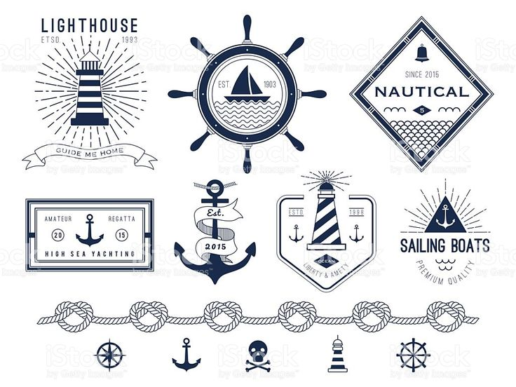 Set of nautical logos, badges and labels royalty-free stock vector art