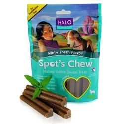 Pet Supplies Dog Supplies Dog Dental Health Halo Spots Chew Mint 6 ×7.2 ounces Pouches. Enjoy Halo Spots Chew Mint (6×7.2oz). Halo Spot's Chew Dog Dental Treat helps pets look and feel great inside and out. Chewing action helps clean teeth and freshen breath plus our chews have a great taste and amazing aroma. No wheat gluten, corn starch, soy, artificial colors or flavors. Our chews will not stain – no worries about carpet stains like other chews. Our highly digestible chews are formulated…