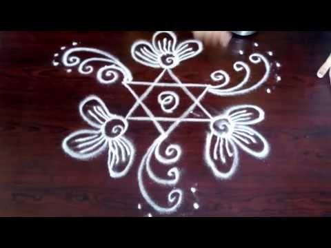 Easy rangoli sankranthi designs only 4-4 straight dots ll Telugu Rangoli ll Easy Rangoli - YouTube