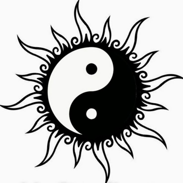 Black Tribal Sun Yin Yang Tattoo Design