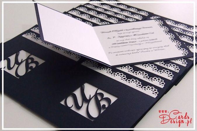 zaproszenia ślubne - koronka, inicjały - wedding