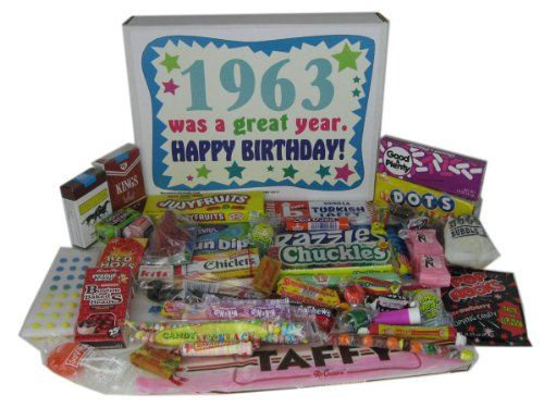 BESTSELLER! 1963 50th Birthday Gift Basket Box Retro Nostalgic Candy From Childhood $38.90