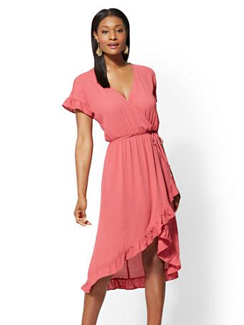 c0f34fa37 Shop Rose Ruffled Wrap Midi Dress. Find your perfect size online at the best  price at New York   Company.