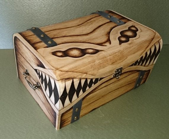 EXTRA LARGE DELUXE Mimic Wooden Gaming Chest Lined Padded / Keepsake Miniatures Dice box Dicebox Fantasy MtG D&D dungeons and dragons Dnd dice box pyrography Woodburning wood burning Dm gamer Gaming magic the gathering rpg monster retro handmade etsy dungeon master miniatures game room gameroom man cave