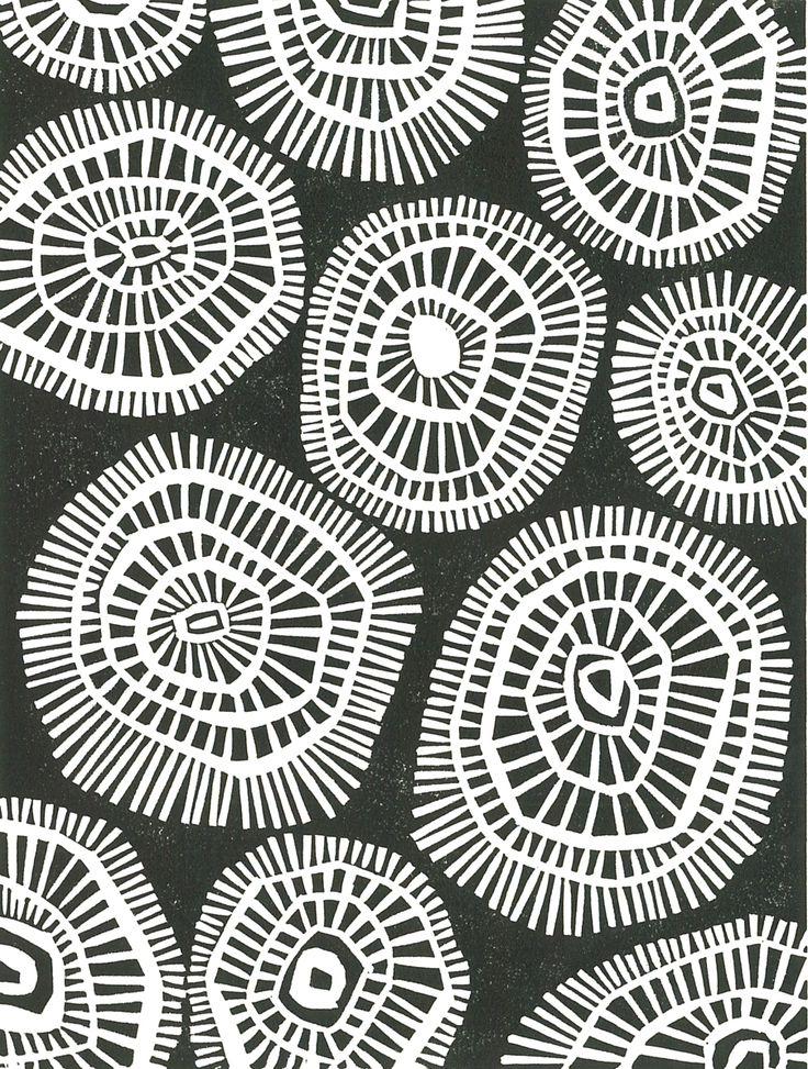 MOD CIRCLES Linoleum Block Print