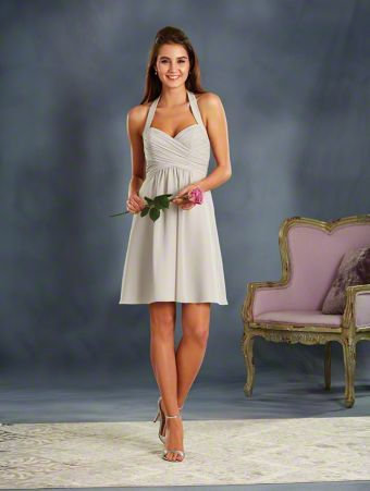 Alfred Angelo Style 7372S: short cocktail length bridesmaid dress with halter straps
