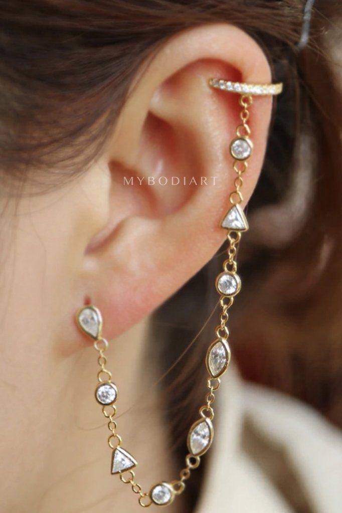Cute Cartilage Ear Piercing Ideas for Women - Gold Silver Crystal Helix Ear  Cuff Chain Earring Jewelry for Teen Girls - linda oreja cuff cadena  pendiente ... 56c436440f3e