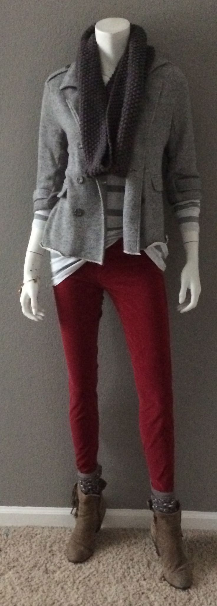 Daily Look: CAbi Fall '14  Striped Shirt with vintage Crimson Cord, Cocoon Scarf and Shrunken Peacoat with Sam Edleman Booties. #fallfashion #cabiclothing