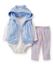 Conjunto 3 Pzs Chaleco Azul marca #carters lo más coqueto para tu #bebe !!!! #fashion #moda #infantil #mexico #niña #oso #gorro