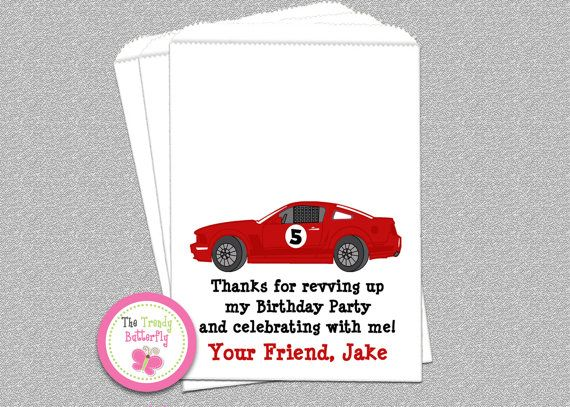 Race Car Party Favors  Candy Buffet  Bags by TheTrendyButterfly