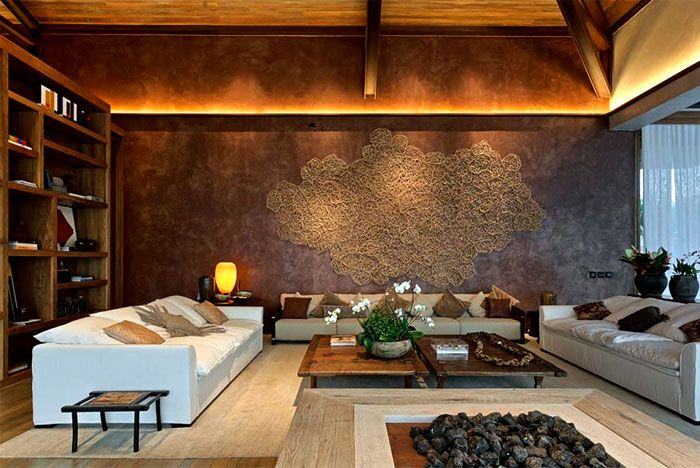 Luxurious Casa Nova Lima with Dramatic Landscape Compositions beautiful wooden cladding living room