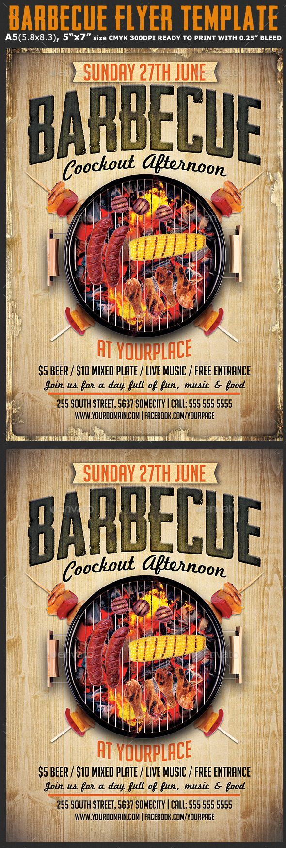 Barbecue Flyer Template #4th of july #barbecue #barbecue flyer • Available here → http://graphicriver.net/item/barbecue-flyer-template/11085683?s_rank=1683&ref=pxcr