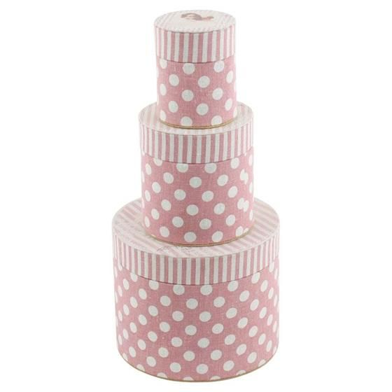 Fabric pink boxes in three sizes www.inart.com