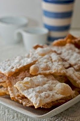 Chiacchiere, Italian Carnival Fried Pastries, I make these, but I call them crostoli or cenci  Maria Leombruni