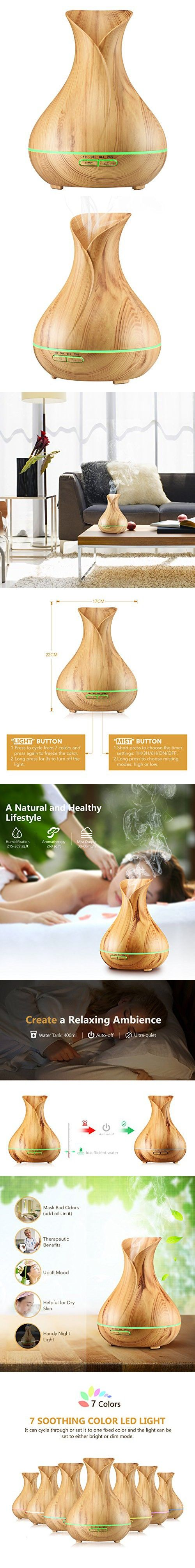 VicTsing 400ml Aromatherapy Essential Oil Diffuser, Ultrasonic Cool Mist Humidifier with Wood Grain Design, 4 Timer Settings for Office, Room, Spa