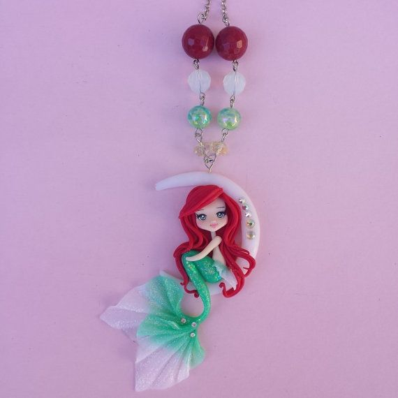 Little Mermaid necklace on the moon in fimo polymer by Artmary2