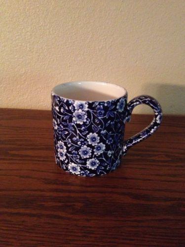 Four Staffordshire Burleigh Calico Blue England Coffee