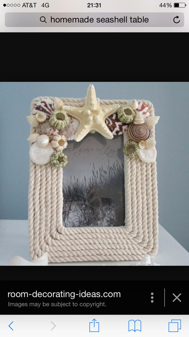 25 Amazing DIY Beach Decorations Rope and shell frame