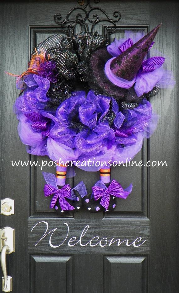 Halloween Witch Wreath Purple TuTu Witch Hat & by poshcreationsKY, $119.00