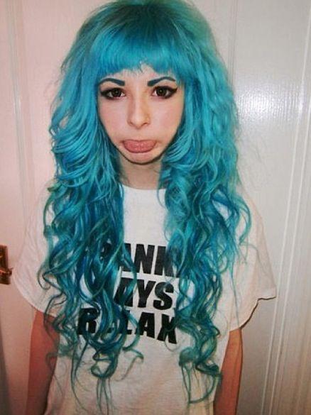 Blue curly scene hair
