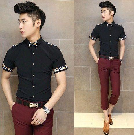 Freeshipping Fashion Men Clothing Flower Patchwork Slim Shirt Short Sleeve Charming Men Club Shirt $24.88