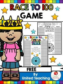 Race to 100 Free 100th Day Counting Game-Numbers, Winter, Place Value PreK, Kindergarten, 1st, Homeschool Worksheets, Games, Math Centers-Play this fun and effective Race to 100 game and help children learn to count to 100. Perfect for the 100th day of school or as a math center any time during the year. Both color and blackline versions are included.