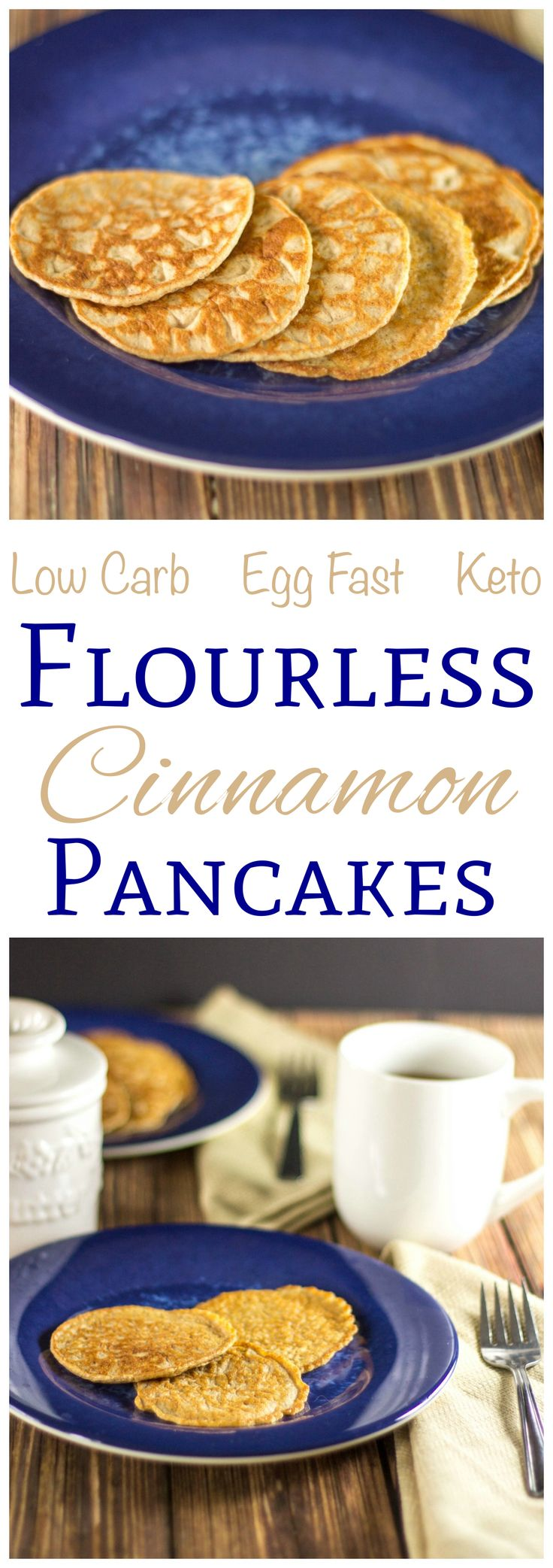 These flourless cinnamon Egg Fast pancakes are super low carb. This recipe is suitable for gluten free, keto, Banting, and other low carb high fat diets.