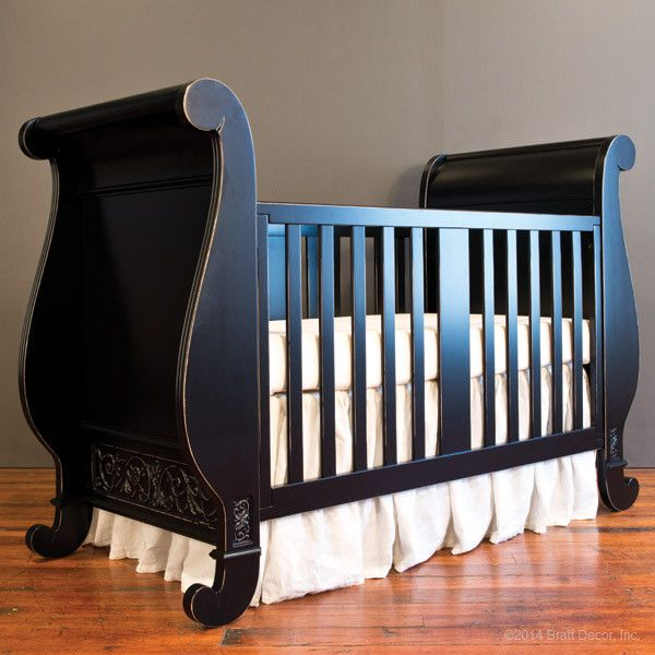 Chelsea Sleigh Crib Distressed Black