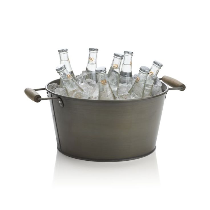 Form follows function in uniquely styled barware with a retro feel, back-to-basics looks and a down-to-earth galvanized finish.  Rustic bucket loads up with ice to keep beer and soft drinks ice cold.  Worn-smooth, wood-grip handles makes it easy to transport to the kitchen for refills.  Pairs with matching ice bucket and tray. 100% galvanized ironWood gripsHand washMade in Turkey.