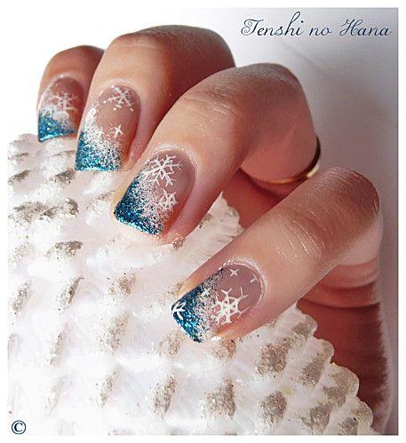 Snow Flake + Glitter Nails