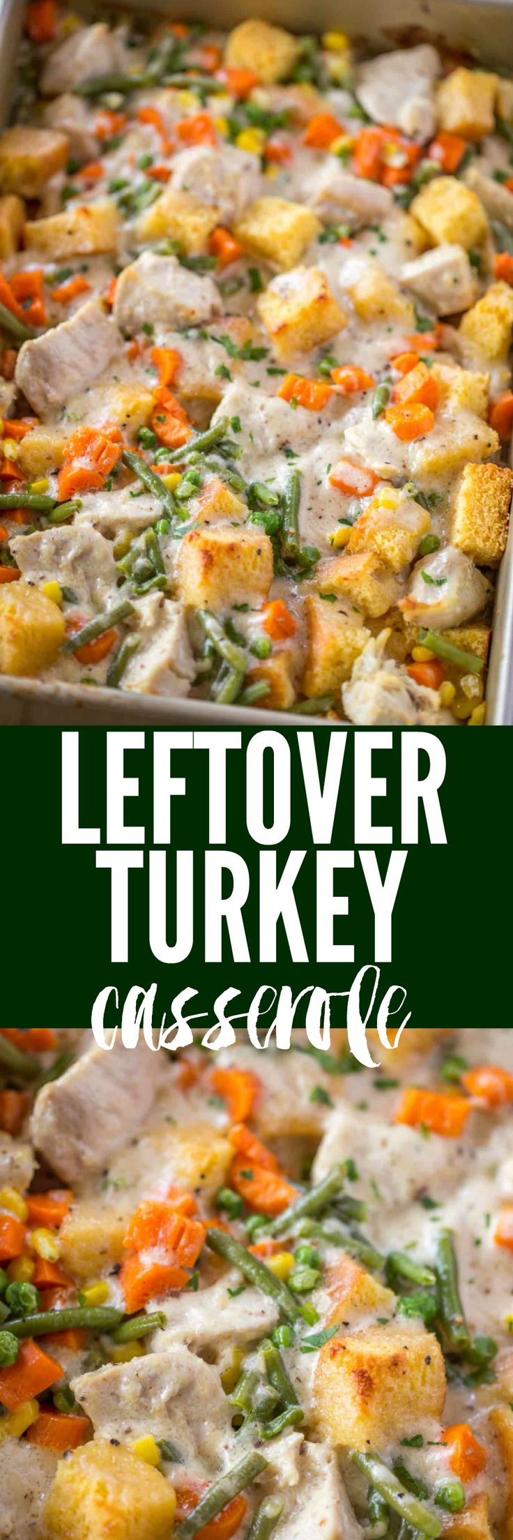 Leftover Turkey Casserole with an easy creamy cheddar gravy, cornbread and vegetables will make you wish you could eat this casserole for thanksgiving dinner!