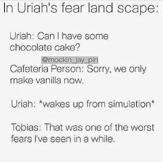 Oh Tobias, are you sure one of your fears isn't that chocolate cake was never invented?? ~Divergent~ ~Insurgent~ ~Allegiant~