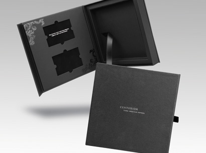 Welcome kit with ribbon lift american express centurion presentation pack identity Interior design welcome packet