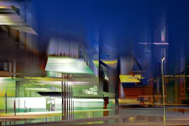 Sabine Wild, Rome Projection III, 2015 / 2016 © www.lumas.de/ #LumasAbstract Photography,  Abstrakt,  Architektur,  Bauwerke,  blau,  Digital Art,  Fassaden,  Fotografie,  Gebäude,  Glas,  Glass Building,  Hauptstadt,  Italien,  Konzept,  moderne Architektur,  Museum for Modern Art,  Nacht,  Reflexionen,  Rom,  Spiegelung,  Stadt,  Zaha Hadid