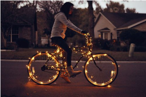Lighted Bike: Bicycles, Riding A Bike, Twinkle Lights, Bike Riding, Bikes, Bike Lights, Fairies Lights, Christmas Lights, Holidays Lights