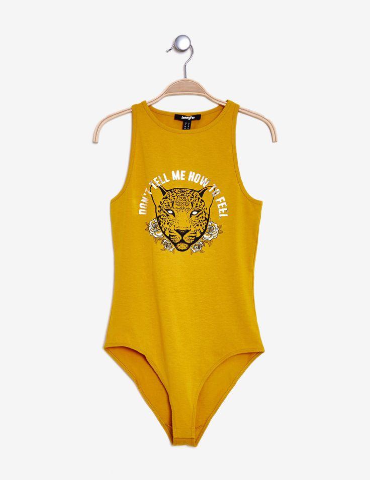 Yellow panther print bodysuit - http://www.jennyfer.com/en-gb/clothes/bodies/yellow-panther-print-bodysuit-10014162092.html