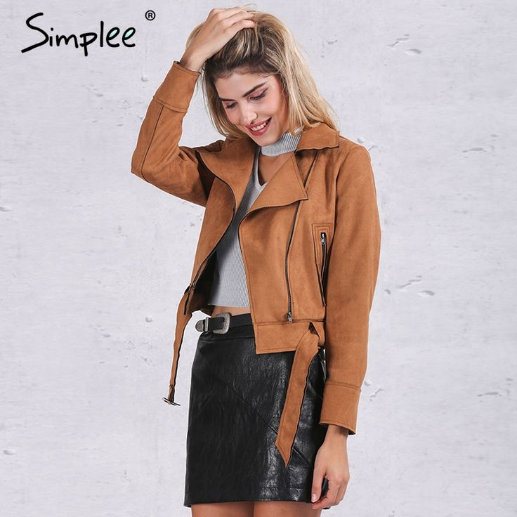 US $28.99 -- Simplee Apparel Zipper basic suede jacket coat 2016 motorcycle jacket Women outwear Pink belted short winter jackets aliexpress.com