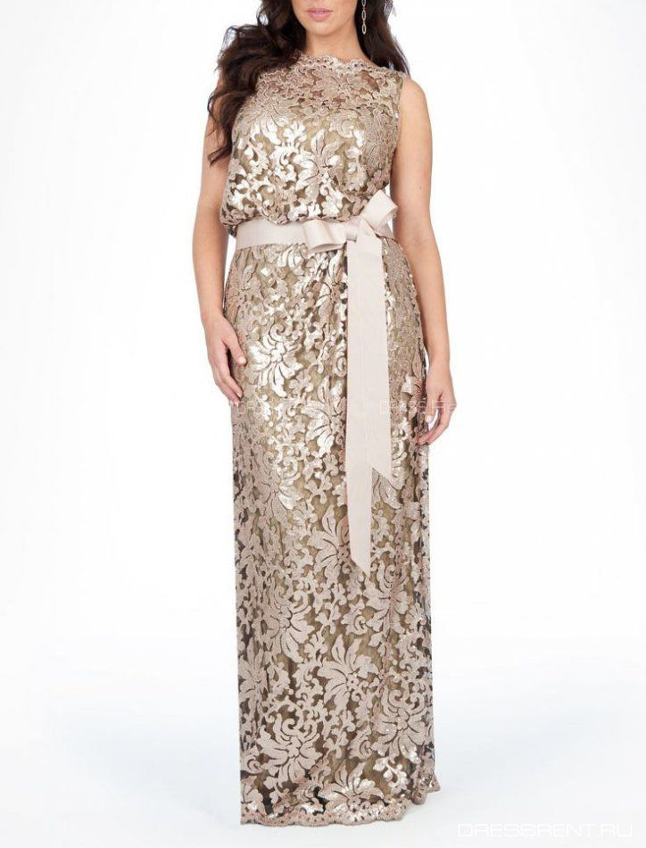 Платье - Tadashi Shoji  | Biege Bluson lace gown +
